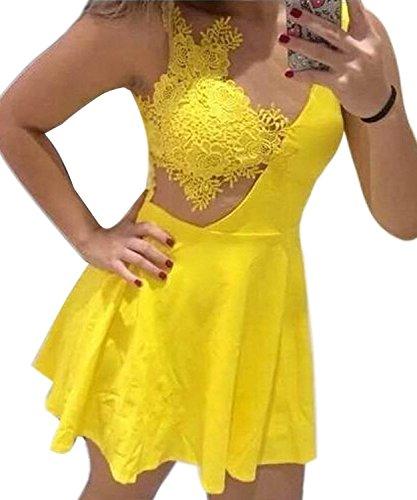 Mine tom Mujer Dama Mini Vestido Verano Correa De Ganchillo Del Cordón Cocktail Vestir Amarillo