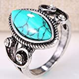 925 Silver December Birthstone Ring Oval Turquoise Women Men Wedding Size 6-10#by pimchanok shop (7)