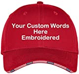 Custom Hat, Embroidered. Your Own Text. Adjustable Back. Curved Bill (Deep Red USA Flag Sandwich)