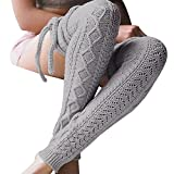 Leg Warmer, L&ZZ Women Thigh High Tie Cable Knit Crochet Long Boot Socks(Improving)