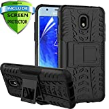 RioGree for Samsung Galaxy J3 Achieve Case, J3 Star/J3 V 3rd Gen/J3 Orbit/J3 Express Prime 3 Phone Case, for Galaxy J3 2018/ Sol 3/Amp Prime 3, with Screen Protector Kickstand Cover Skin, Black
