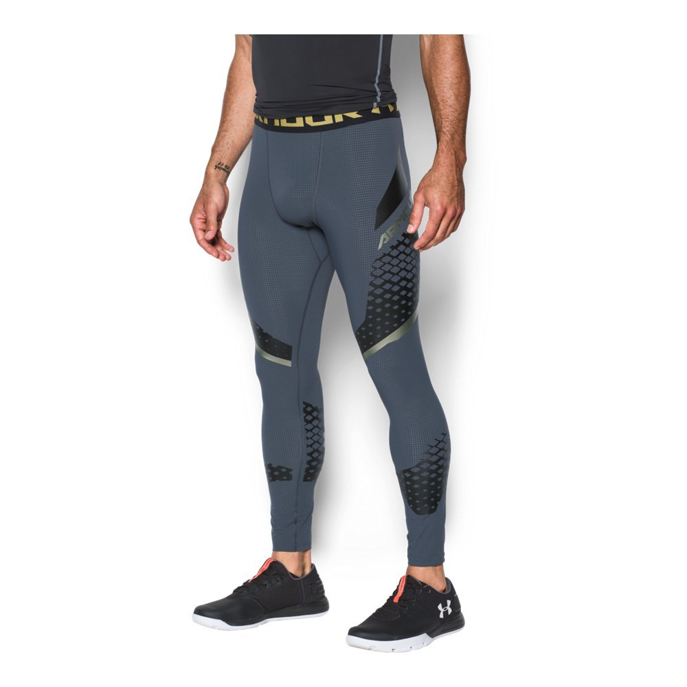 Under Armour Men's HeatGear Armour Zonal Compression Leggings,Stealth Gray /Iridescent Foil, Small