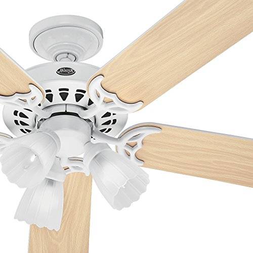 """Hunter Fan 52"""" Ceiling Fan in White with Light Kit and 5 Ble"""
