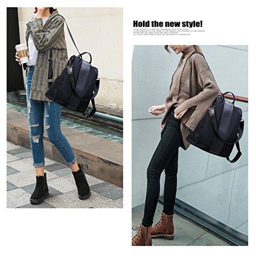 Women Backpack Purse Waterproof Nylon Anti-theft Rucksack Lightweight Shoulder Bag (Black)