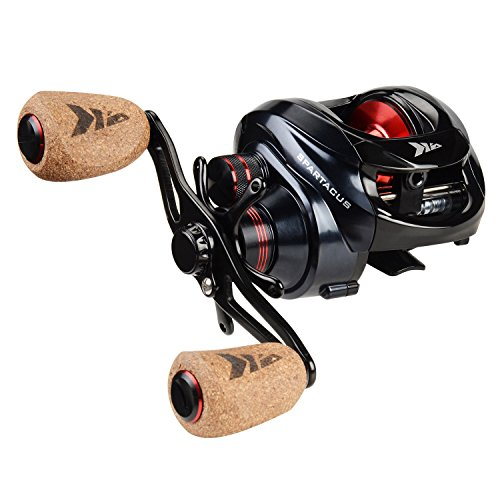 KastKing Spartacus Plus Baitcasting Reel Ultra Smooth 17.5 LB Carbon Fiber Drag, 11 + 1 Shielded Ball Bearings, Rubber Cork Handle Knobs (Plus Reel Casting)