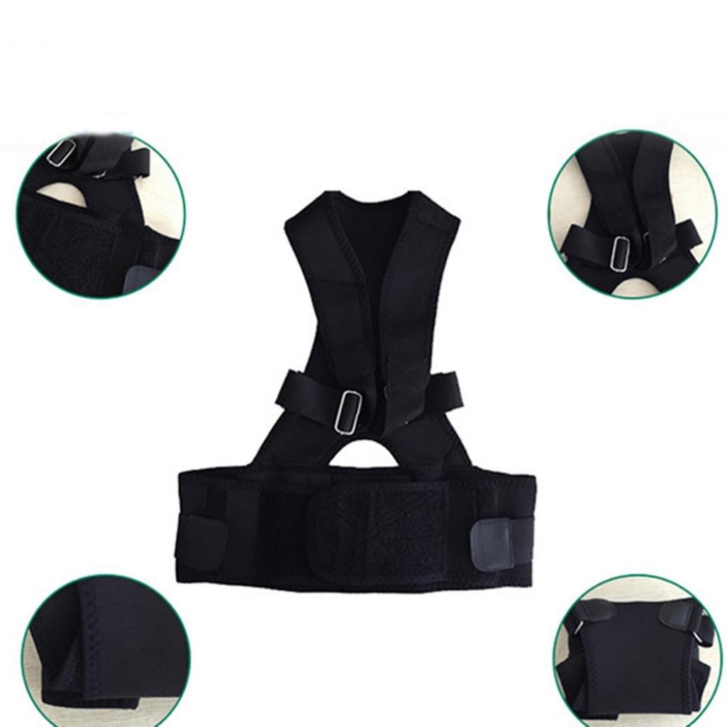 調節可能なネオプレン姿勢バック肩矯正サポートブレースベストベルト – geshiintel B07BM1L5CM ブラック X-Large