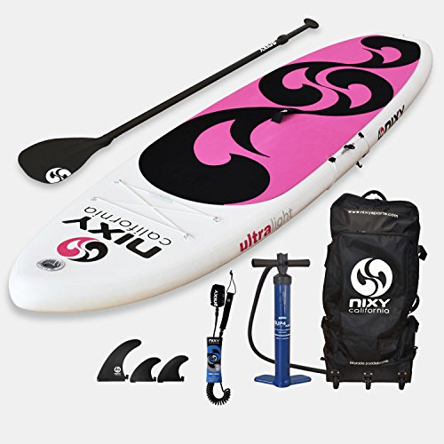 NIXY Beginners and Yoga Inflatable Stand Up Paddle Board. Ultra Light 10'6'' Venice Pink & White Paddle Board Built with Advanced Fusion Laminated Dropstitch Technology and 2 YR Warranty by NIXY