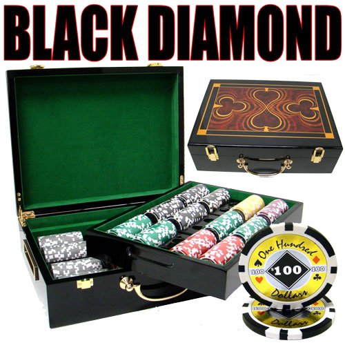 500 Black Diamond Poker Chip Set with High Gloss Wooden Case by Heavy Weight