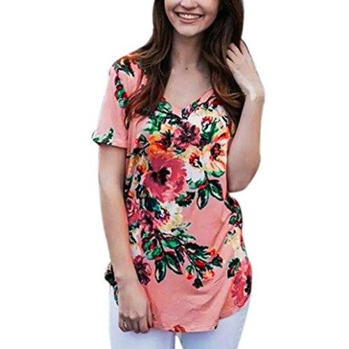 oose Tees Casual Print Floral V Neck T Shirts Tops Blouse (Zelda Floral Print)