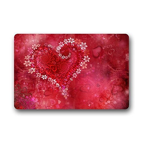 Valentine Door (DENSY Door Mats Valentine'S Day Fabric Indoor /Outdoor/Shower/Bathroom Doormat Non Slip Rubber Kitchen Rugs 23.6 X 15.7 Inch)