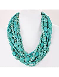 """001 Multi-strands Blue Magnesite Turquoise Beads Huge Necklace w/Silver Plated Clasp 20"""" N4101406p"""