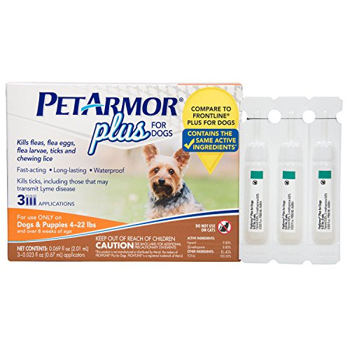 PETARMOR Plus Flea & Tick Treatment for Dogs, 4-22 lbs, 3 Month Supply