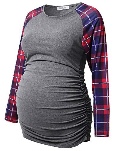 Maternity Tee Crew - GINKANA Women's Baseball Crew Neck Flower Raglan Sleeve Maternity T-Shirt Top Pregnancy Shirt