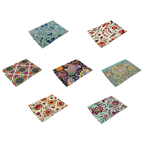 Junk Food Flower - HACASO Set of 7 Vintage Style Colorful Flower Pattern Dining Table Mats Cotton Linen Placemats