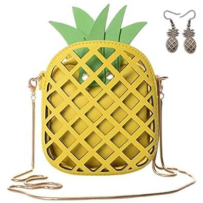 QZUnique Women's PU Pineapple Shape Hollow Out Casual Cross body Handbag Purse Yellow Size: Big