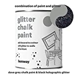 Hemway Dove Grey Chalk Paint (with Black Holographic Glitter) Sparkle Matt finish Wall and Furniture Paint 1L / 35oz Shabby Chic Vintage Chalky Crystal (25 Glittery Colours Available)