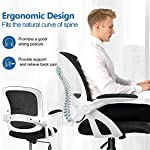 COMHOMA Office Chair Desk Ergonomic Chair with Flip-up Armrest Back Support Mesh Chair for Home Office (White)