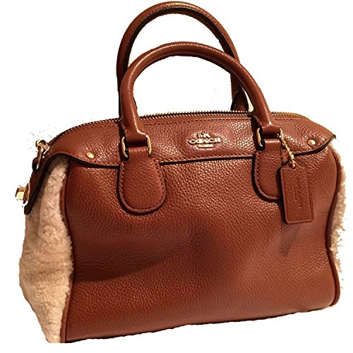 Authentic Coach Mini - Coach Limited Editino Mini Bennet Shearling & Leather Top Handle Handbag Satchel Cross Body Bag (light brown)