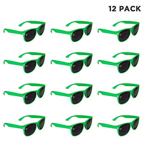 (12 Pack) Green Retro Wayfarer Sunglasses - St. Patricks Day Party - Green Sunglasses