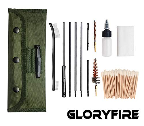 (GLORYFIRE Universal Gun Cleaning Kit Hunting Rifle Handgun Shot Gun Cleaning Kit for All Guns with Case Travel Size Portable Metal Brushes)