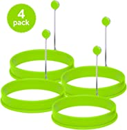 Silicone Egg Rings by Ozetti - Green Color 4 Pack, Make Perfect Round Fry Eggs orPancakes, Professional Non-Stick BPA-Free M