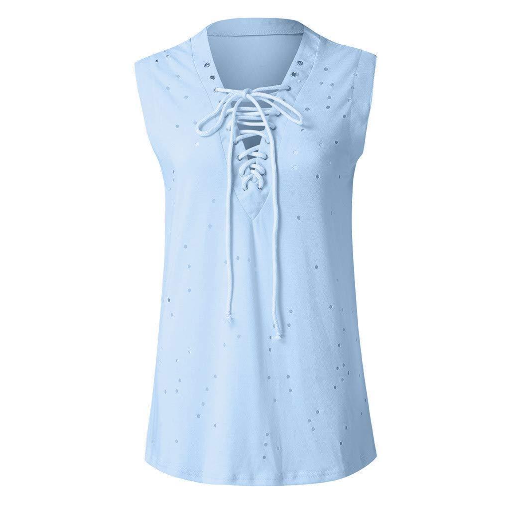 Womens Fashion Summer Girls V-Neck Lace Up Sleeveless Tank Top T Shirt