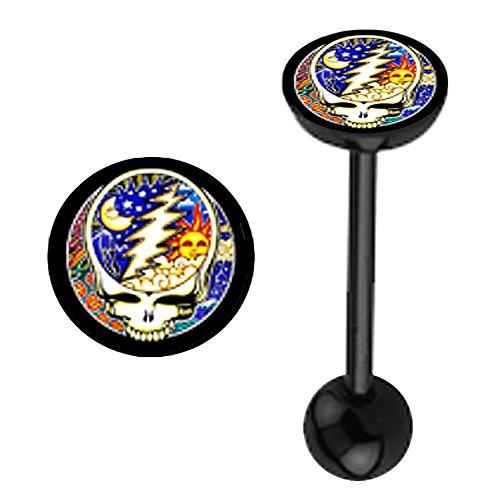 Greatful Dead colorful Skull Logo flat top Black Bioflex plastic flexible Barbell Tongue Ring piercing Jewelry bar - 14g