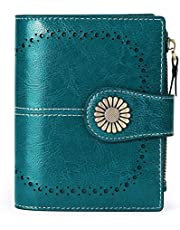 MarHermoso Small Women Wallet Genuine Leather Bifold Purse with ID Window Coin Purse Pouches
