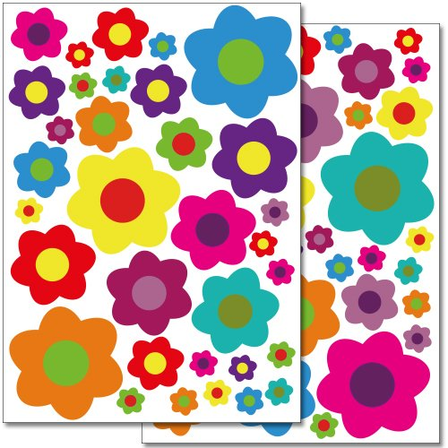 Retro Flower Wall Sticker - Wandkings wall stickers Colourful Flowers - Design 4 Sticker Set - 66 stickers on 2 US letter sheets (each 8.3 x 11.7 inch)