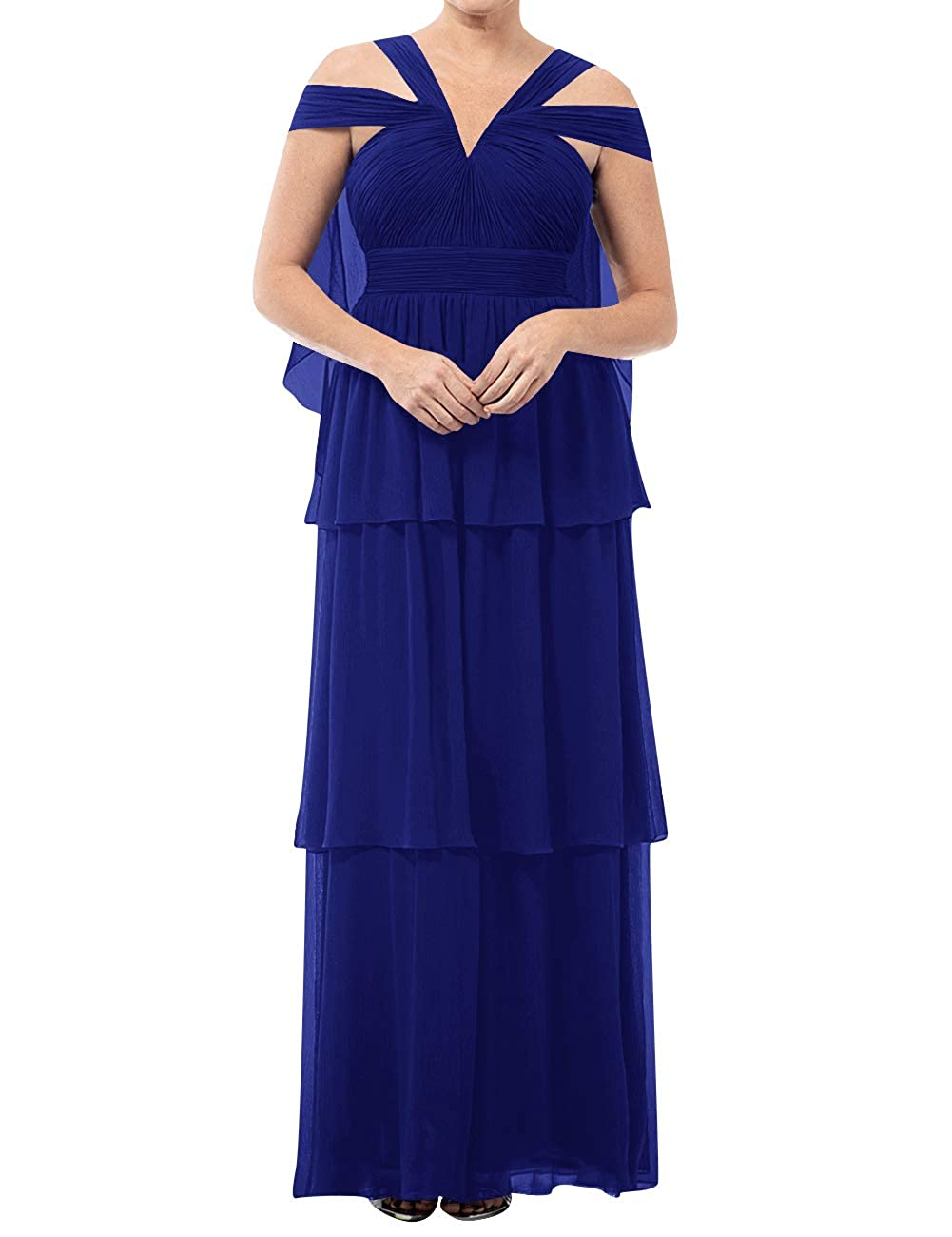 Royal bluee Mother of The Bride Dresses VNeck Long Mother of Groom Dress Plus Size Evening Gowns