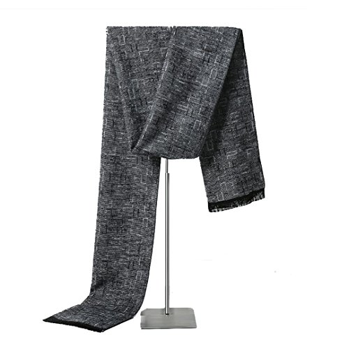 Cheng Xiang Mens Plaid Solid Color Super Soft Luxurious Cashmere Feel Winter Scarf (Light Gray)