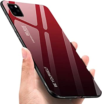 Luhuanx Case Compatible with iPhone 11 Pro Max,Tempered Glass Gradient  Color Pattern+TPU Frame Hybrid Slim case for iPhone 11 Pro Max in  6.5\u201d(2019)