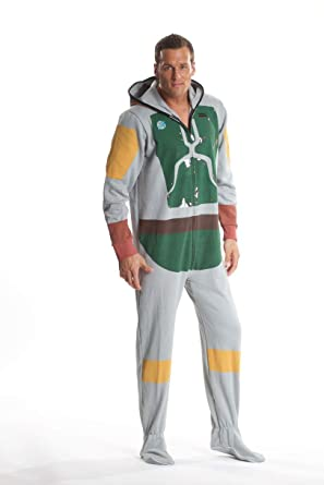 Star Wars Boba Fett Adult Onesie Footed Costume Pajamas for Men and Women  (XS) 2028c8f67