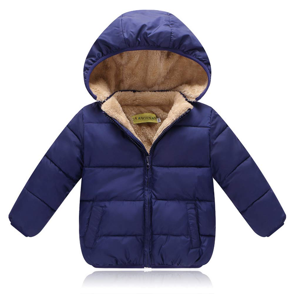 ALLAIBB Unisex Little Kids Winter Warm Jacket Padded Velvet Lining Thick Puffer Outwear Size 120 (Dark Blue)