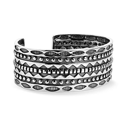 American West Sterling Silver Symbol Engraved Wide Cuff Bracelet Size Large
