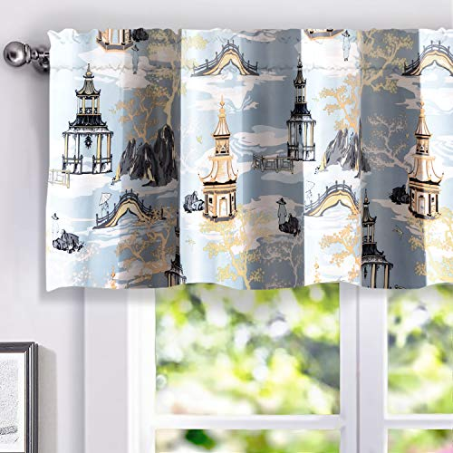 DriftAway Garden Curtain Valance Painterly Chinoiserie Design Lined Window Curtain Valance for Living Room Bedroom Kitchen 2 Layers Rod Pocket 52 Inch by 18 Inch Plus 2 Inch Header Blue