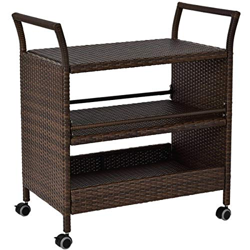 Rattan Rolling Serving Cart Storage Shelves Rack Indoor/Outdoor Furniture