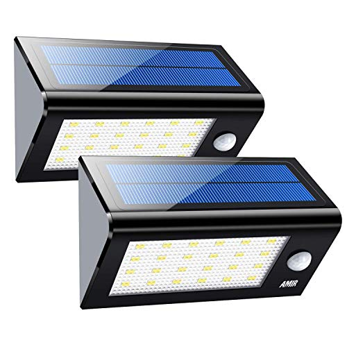 AMIR Solar Lights Outdoor, 24 LED Motion Sensor Wall Lights, Wireless Garden Security Light, Waterproof Solar Step Lights for Patio, Deck, Yard, Garden, Garage, Driveway, Pathway, Stairs, Pool, 2 Pack Review