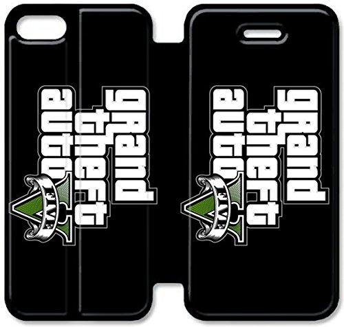 Flip étui en cuir PU Stand pour Coque iPhone 5 5S, bricolage 5 étui de téléphone cellulaire 5S étui en cuir GTA V J0Y6LM Coque iPhone Pour Guys unique
