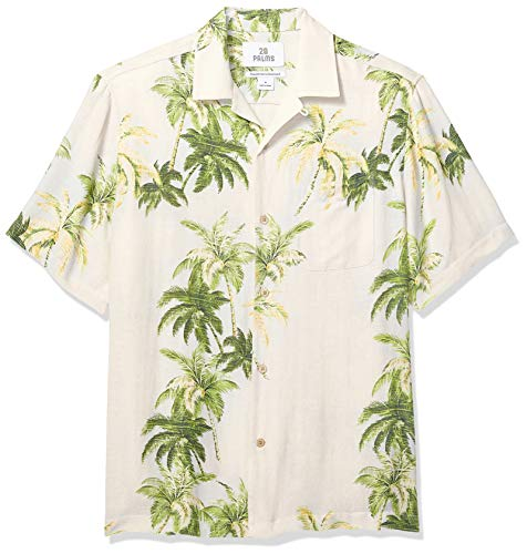 28 Palms Men's Relaxed-Fit Silk/Linen Tropical Hawaiian Shirt, Natural/Green/Blue Tree, Medium