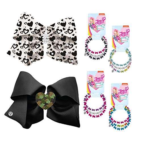 (Jojo Siwa Assortment Containing: 1 Black Bow With Acrylic Camo Heart Motif, 1 White Bow With Black Heart Print And Stones And 3 On A Card Bead Bracelets)