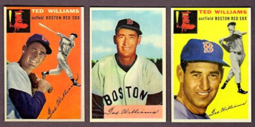 Ted Williams (3) Card Baseball Reprint Lot from 1954 (1954 Topps #1 and #250 plus 1954 Bowman) All with Original Backs and Original Size - Cards Football 1954