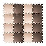 Tebery EVA Foam Puzzle Mat, 16 Tiles (16 tiles = 16 sq.ft) Interlocking Floor Tiles with 16 Borders - Beige and Brown