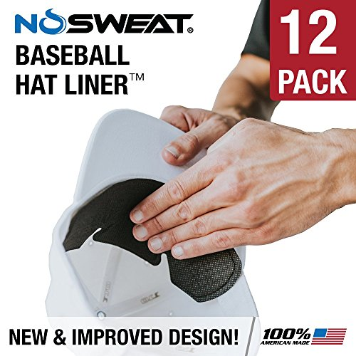 No Sweat Baseball Hat & Batting Helmet Liner - Absorbs Dripping Sweat/Moisture Wicking Sweatband | Prevent Sweat Stains/Ultimate Hat Saver - (Official, Pro, Softball)