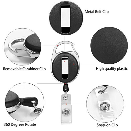 CLEYCYE Retractable Badge Reel - 10 Pack with Carabiner Belt Clip - Retractable ID Badge Holder for Office Company Employee School Bus Pass ID Card Holder with Black Lanyard