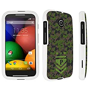 DuroCase ? Motorola Moto E (2014 Released) Hard Case White - (Army Camo Monogram P)