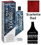 Pravana Chromasilk Vivids EVERLASTING Permanent Creme Hair Color Dye (w/Sleek Tint Brush) Cream Haircolor with True Unicorn Root, Sea Buckthorm Oil (Scarlette Red)