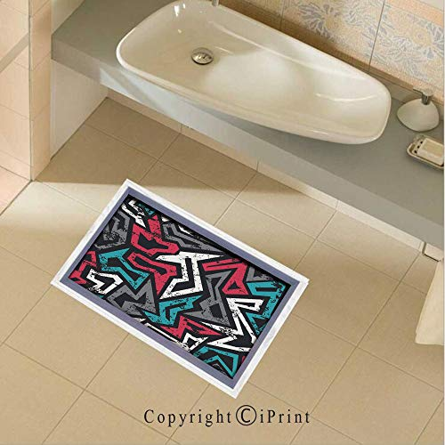 (Removable DIY Floor Stickers Decor Abstract Shapes in Graffiti Art Style Underground Hip Hop Culture Funky Street Wall for Home Walls Floor Ceiling Kids Nursery Room Boy Girls Bedroom Bathroom Living)