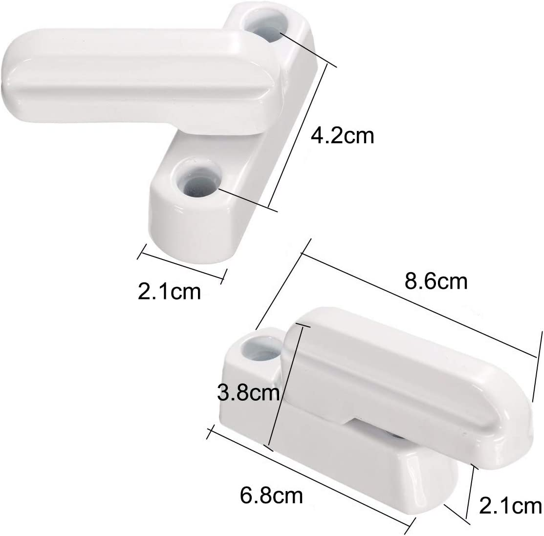 4 unidades de cierre de seguridad para ventana limitador giratorio extra Sash Jammer color blanco cierre adicional para ventana forma de T aleaci/ón de zinc cierre de seguridad