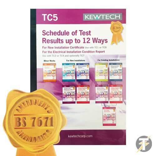 Kewtech TC5 - AMENDMENT 3 COMPLIANT Schedule Of Test Result Up To 12 Ways Book, Contains 40 Certificates (1 Page Per Certificate), With Copies For Customer & Contractor Use, For New Installations Use -